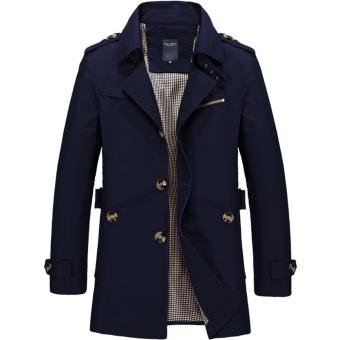 Men's Single Breasted Trench Jackets & Coats - Dark Blue - intl