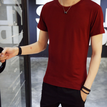 Men's Slim Fit Round Neck Short Sleeve T-Shirt (8Y05-wine red)