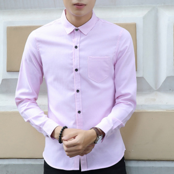 Men's Solid Long Sleeve Cotton?Work Dress Shirts Pink