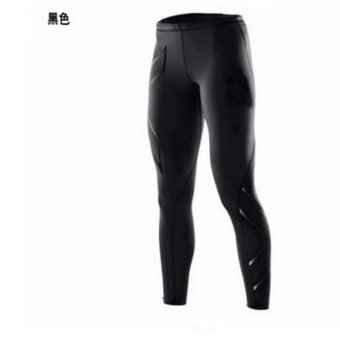 Men's Sports Tights Men's Casual Pants Running Fitness Trousers Fast Dry Trousers Compression Pants - Black - intl