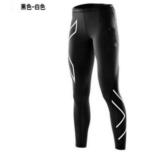 Men's Sports Tights Men's Casual Pants Running Fitness Trousers Fast Dry Trousers Compression Pants - Silver - intl