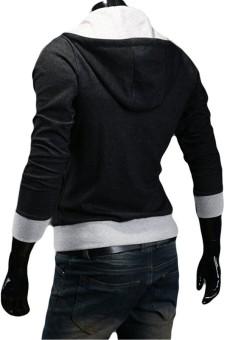 Men's Thin Oblique Zipper Hoodie Slim Jacket (Black) - 2