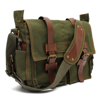 Men's Vintage Canvas Leather Military Large Shoulder Messenger Bag Green - intl