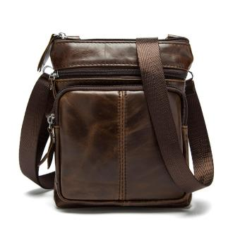 Men's Vintage Genuine Leather Casual Satchel Bag Crossbody Bag Shoulder Messenger Bag Coffee - intl