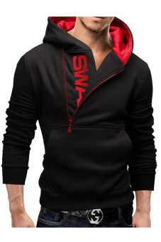 Men's Zipper Hit Color Hoodies Sweater Sweatshirt Jacket Coat(Black) (Intl)