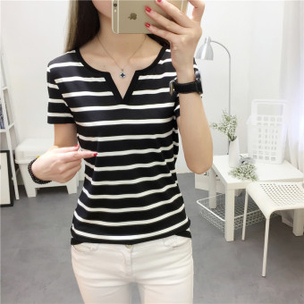 Mengqifu Women's Slim Fit Striped V-Neck Short Sleeve T-Shirt Color Varies (8009 black)
