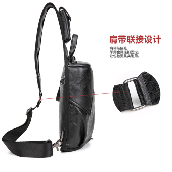 Men's 2-Layer PU Leather Chest Pack Cross Body Sling Bag HikingDaypack - 5