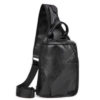 Men's 2-Layer PU Leather Chest Pack Cross Body Sling Bag HikingDaypack