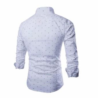 Mens Anchor Printing Long Sleeve Shirt (White) - Intl - 2