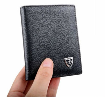 Mens Black Leather Credit ID Card Holder Wallet Bifold Money Clip Slim Purse - intl
