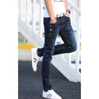 Men's Buttons Design Denim Jeans (Dark) - 4