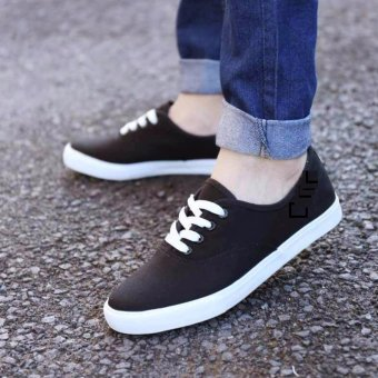 Men's Canvas Shoes Sneakers With Lace - Black