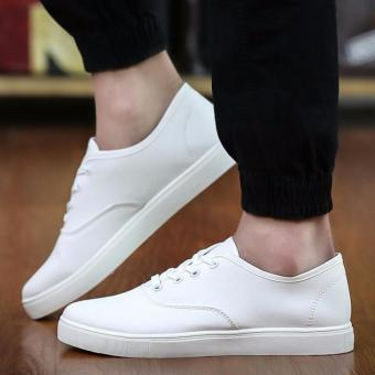 Men's Canvas Shoes Sneakers With Lace - White - 3