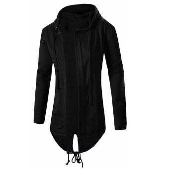 Men's Cardigan Hooded Long Cloak Cape Coat Loose Jacket - intl