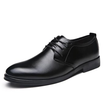 Men's Casual Cow Leather Lace-up Business Shoes(Black) Price Philippines