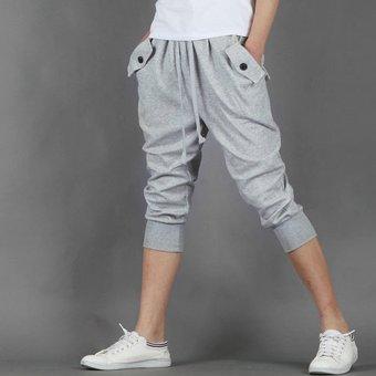 Mens Casual Jogger Sports Shorts Pants (Light gray) - 4