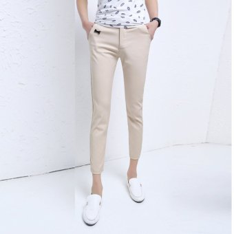 men's casual pants pants nine feet and Korean men's trousers(Khaki) - intl