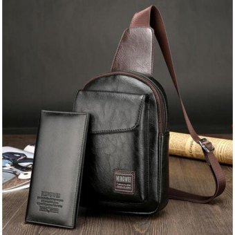 Mens Chest Bag Leather Crossbody Messenger Bag WaterproofShoulderchest Crossbody Sling Bag For Men (Black) - intl