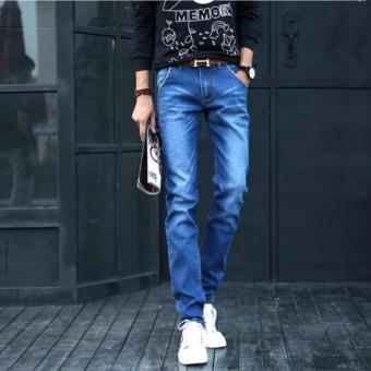 Men's Classic Blue Jeans with Whisker Design