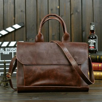 Men's Classic Multifunctional Large Capacity Leather CasualBusiness Bag (black) - intl - 2