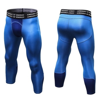 Men's Compression Fitness Pants 3/4 Sports Tights Leggings(Blue) -intl