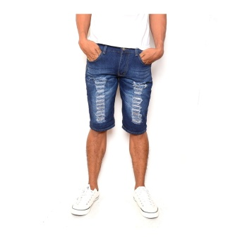 Men's Cool Ripped Dark Blue Denim Short
