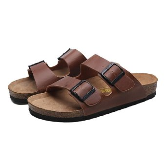 Men's Cow leather Sandals Fashion Casual Slippers Beach shoes -intl