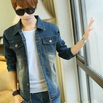 Men's Denim Jacket Casual Fashion Mens Jeans Coats Cowboy Jackets -Blue - Intl