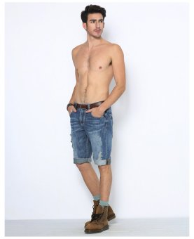 Men's Denim Tattered Short. (Light Blue)