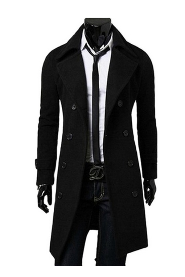 Mens Europe Slim Fit Trench Coat Winter Long Jacket Overcoat (Black)