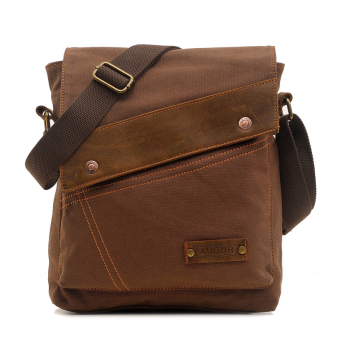 Men's Fashion Canvas Crossbody Sling Bags Casual Shoulder MessengerBags (Coffee)