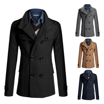 Men's Fashion Coat Double Breasted Woolen Trench Coat Slim and LongSections Winter Jackets (Black) - intl