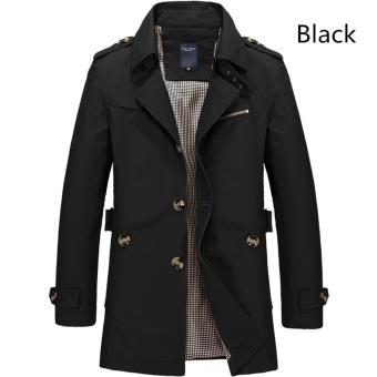 Men's Fashion New Winter Jeep Casual Jacket Long Paragraph CottonWashed Large Code Coat (Black) - intl