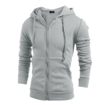 Men's fashion sports sweater solid color zipper jacket light grey-INTL