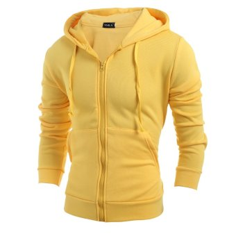 Men's fashion sports sweater solid color zipper jacket yellow- INTL