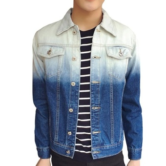 Men's Fashion Turn-down Collar Regular Plus Size Athletic JacketsStandare Denim Coats Blue - intl