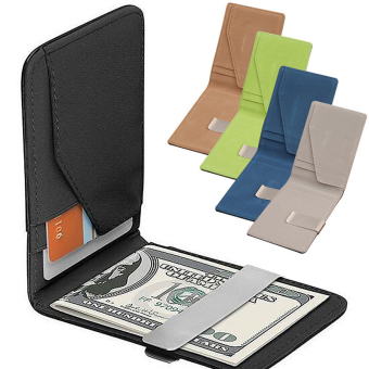 Mens Genuine Leather Silver Money Clip Slim Wallets Black ID Credit Card Holder Coffee