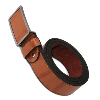 Mens Genuine Leather Vintage Metal Automatic Buckle Waist Band Strap Belt Brown - 2