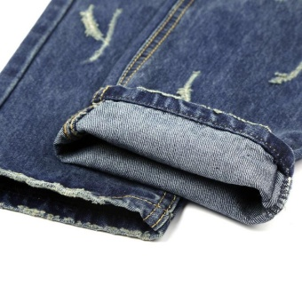 Mens high quality Patch Jeans ripped jeans for men holes pants denim trousers- Blue - intl - 3