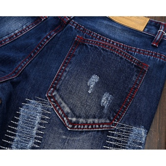 Mens high quality Patch Jeans ripped jeans for men holes pants denim trousers- Dark Blue - intl - 5