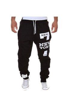 Mens Hip Hop Printing Jogger Leisure Harem Sports Pants (Black)