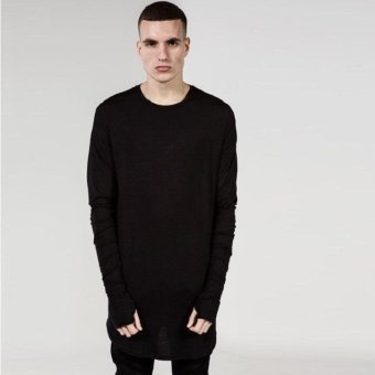 Mens Hip Hop T-Shirt full Long Sleeve T-Shirt With Thumb Hole Cuffs Tees shirts Curve Hem Men Street Wear Tops(Black) - intl
