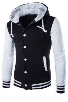 Mens Hoodie Drawstring Baseball Jacket (Black/White)