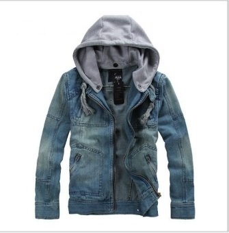 Men's Hoodie Jeans Jacket hooded denim coat - intl