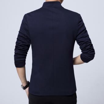 Men's Korean style Slim Fit Mandarin Collar Suit Jacket Male BrandCasual Cotton Suit Blazer Coat Outwear-Blue - intl - 4