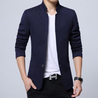Men's Korean style Slim Fit Mandarin Collar Suit Jacket Male BrandCasual Cotton Suit Blazer Coat Outwear-Blue - intl - 2