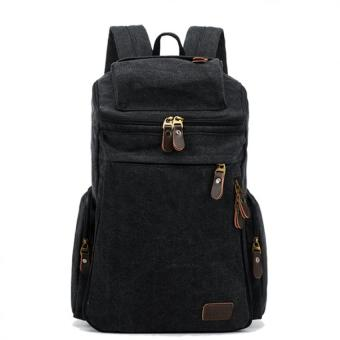 Mens Large Vintage Canvas Backpack School Laptop Bag Hiking Travel Rucksack Black