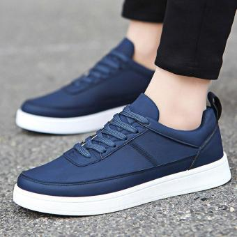 Men's Leather Casual Loafer Shoes Leisure Driving Shoes Blue - intl
