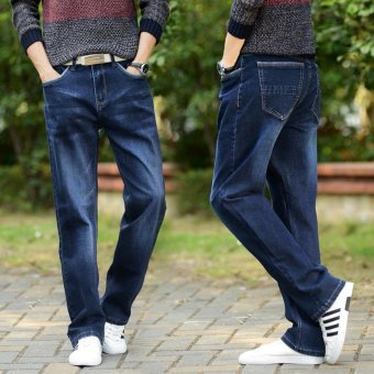 Men's Loose Straight Jeans Fat Legging Plus Size Thin Denim PantsLarge Men Jeans Waist 42 44 Plus Size Jeans - intl