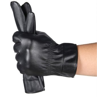 Mens Luxurious Leather Winter Super Driving Warm Gloves Cashmere Black